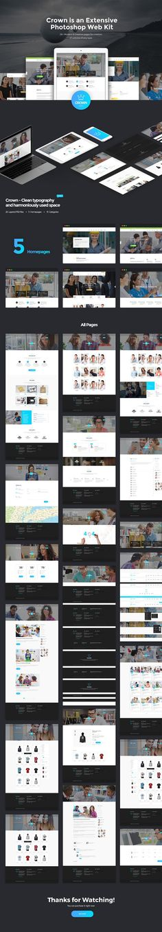 Crown Extensive Photoshop Web Kit by Grooni on @creativemarket