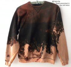 Black Sweatshirt, Acid wash sweatshirt, crewneck sweatshirt, dip dyed crew neck, sweatshirt, jumper, Sweater, Boho, Grunge Sweatshirt by Styleon on Etsy