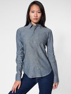 American Apparel - Unisex Heavy Chambray Long Sleeve Button-Up