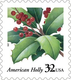 The sprig of American holly is a traditional holiday symbol. With its rich, green leaves and vivid red berries, the elegant holly on this 1997 Christmas stamp reminds us of a season of love, the giving of gifts, and the laughter of children. We saw holly featured on a stamp earlier in our countdown. Can you remember in what year that first holly stamp was issued?