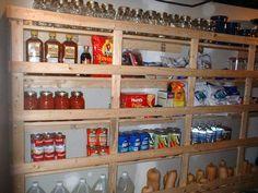 I love canning. I want new wooden shelves. I love the squash at the bottom all lined up like soldiers. Canning Jar Storage, Canned Food Storage, Canning Jars, Canning Recipes, Mason Jars, Hard Working Husband, Wooden Shelves, Kitchen Organization, Storage Shelves