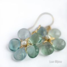 Aqua and Gold Spring Fluorite Flowers - Handmade 14K gold filled wire wrapped earrings. Romantic Organic Artisan. Mother's Day Gift, $63.00