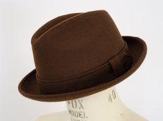 Brown Felt Fedora Hat / mens vintage wool cap / by CompanyMan, $32.00