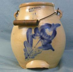 1 1 2 Gal Stoneware Batter Pail with Cobalt Blue Flower Decoration Marked Antique Crocks, Old Crocks, Antique Stoneware, Stoneware Crocks, Primitive Antiques, Or Antique, Glazed Pottery, Glazes For Pottery, Ceramic Pottery