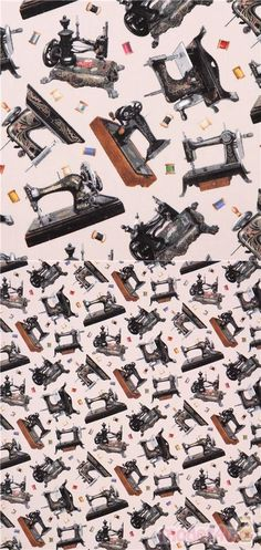 sewing retro fabric from the USA with tossed vintage sewing machines, by Elizabeth's Studio, collection: A Stitch In Time