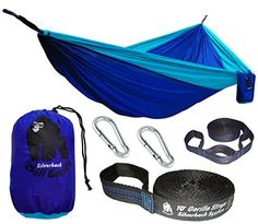 Chill Gorilla Pro Luxury Double Camping Hammock With Tree Straps Blue 47 Sq Ft Bigger Than Eno Lightweight Weather Resistant Diamond RipStop Nylon Perfect for Travel Hiking Supports 661 lbs *** To view further for this item, visit the image link. Note:It is Affiliate Link to Amazon.
