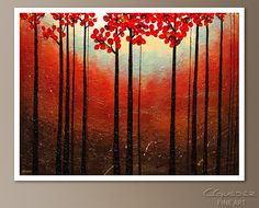 Create an ideal focal point on your wall with this original abstract art painting 'Aroma do Campo'. This canvas art for sale highlights an amazing sunset and trees with red leaves. Hanging Paintings, Art Paintings For Sale, Beautiful Paintings, Original Paintings, Canvas Art For Sale, Fine Art Posters, Image Painting, Contemporary Wall Art, Flower Art