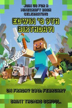 Minecraft Birthday Party Invitation Wording Ideas Minecraft