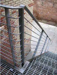 Turned steel balustrade, folded handrail detail, external galvanised steel stair facedesign.com