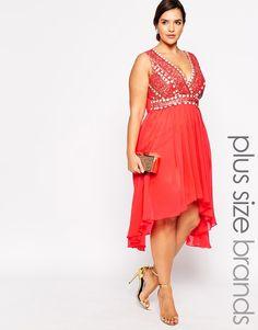 Lovedrobe Wrap Front Embellished Midi Dress