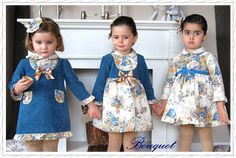 Blue and camel dresses Little Girl Outfits, Family Outfits, Cute Outfits For Kids, Baby Girl Party Dresses, Baby Dress, Cute Dresses, Girls Dresses, Dress Anak, Little Fashionista