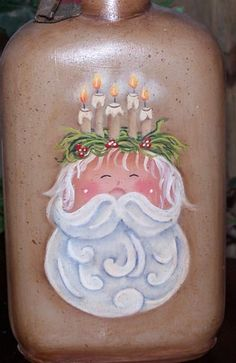 free painting pattern & instructions... Santa with Candles