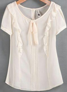 Apricot Short Sleeve Ruffle Bow Chiffon Blouse - Sheinside.com