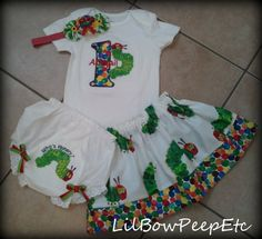 7. Hungry Caterpillar outfit by lilbowpeepetc on Etsy, $65.95 #WorldEricCarle #HungryCaterpillar