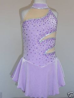 Purple velvet skating dress with cut outs