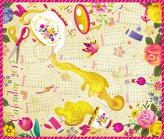 Tea Towel Calendar 2013 fabric by irrimiri on Spoonflower - custom fabric