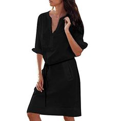S-XL Woman Casual Half Sleeve Buttons V-Neck Mini Dress with Belt Loose Pockets Work Office Dresses Vestidos Dress Shirts For Women, Casual Dresses For Women, Short Dresses, Pants For Women, Loose Dresses, Loose Fit, Everyday Dresses, Half Sleeves, Casual Shirts