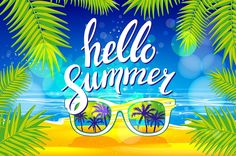 Vector hello Summer sunglasses palm by Rommeo79 on @creativemarket