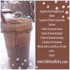 Isagenix Chocolate Gingerbread Shake-- Just add spices & blend! Plus, cinnamon is a metabolism booster!!