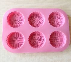 6-cavity Mooncake Round Happiness Cake Mold Flexible Silicone Choclate Mold Soap Mold Soap Candle Candy