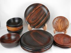 Cocobolo Bowl and Plate Set