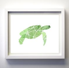 Green Malachite Sea Turtle Art Print by FancyPrintsforHome on Etsy, $15.00