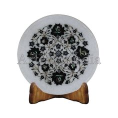 Black onyx Wall Plate White Marble Inlaid With Semi Precious Gemstones With Floral Art Work Completely Handmade Serving Plate For Guest Marble Wall, White Marble, Plate Display, Semi Precious Gemstones, Plates On Wall, Black Onyx, Traditional Art, Unique Art, Art Pieces