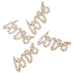 MB-113-GD / Glossy Gold Cubic Zirconia Pendants Love by Annielov2