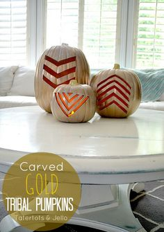 Carved Gold Tribal Pumpkins by @Tatertots and Jello .com #MPumpkins