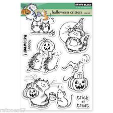 New Penny Black HALLOWEEN CRITTERS Clear Stamps Cat Hedgehog Owls Pumpkin Treat