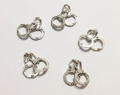 5 Pcs. Handcuffs Charms, Handcuffs Pendant, Cuffs Charms Spacer, Silver Antique Charms, Necklace Charms, Jewelry Charms, Vintage Accessories on Etsy, $2.00