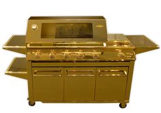 CHESTER HILL, Australia -- A barbecue gold plated all over, made by Beefeater especially for the 'World's Finest' exhibition, has a value of 164 010 U. dollars the world record for the Most expensive barbecue. Expensive Taste, Most Expensive, Barbacoa, Barbecue Grill, Grilling, Golden Grill, Grill Plate, Carat Gold, Luxury Living