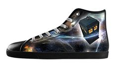Custom Women's Doctor Who Tardis In Starry Night Lace-up High-Top Canvas Shoes Black Sneakers-5M(US)