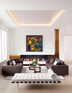 Salon élégant et moderne avec éclairage doux