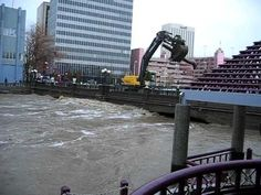 On January 1, 1997, the Truckee River flooded into downtown Reno, and completely submerged the Reno-Tahoe Intl Airport and Sparks Industrial Center, causing extensive damage. The flood was caused by warm weather and rain melting huge quantities of snow in the Sierra Nevada mountains.