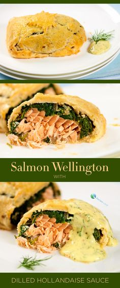 Salmon and spinach stuffed inside of puff pastry then roasted until golden. Crispy and flaky on the outside, served with a tangy and creamy sauce.