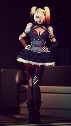 quilting - skirt - Batman Arkham Knight Harley Quinn --Be your own Whyld Girl… Manga Comics, Dc Comics, Joker And Harley Quinn, Gotham City, Gotham Font, Hearly Quinn, Nananana Batman, Batman Arkham Knight, Character Art