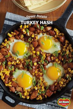 Sweet Potato Turkey Hash - Enjoy a relaxing brunch after the holidays with a simple one skillet meal, and boost your leftover turkey with corn, sweet potatoes and eggs. Food Network Recipes, Cooking Recipes, Healthy Recipes, What's Cooking, Breakfast Dishes, Breakfast Recipes, Free Breakfast, Dinner Dishes, Brunch Recipes