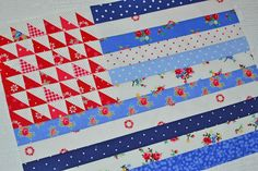 American flag quilt block by Grey Dogwood Studio, from a pattern by Minick & Simpson and fabric by Pam Kitty Morning.