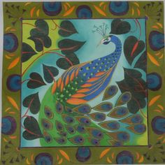 peacock-with-border-on-18ct.png (511×512), needlepoint canvas