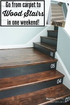 Removing carpet from stairs and replacing it with wood stair treads is totally doable. This DIY staircase makeover was accomplished in a weekend and looks like a professional job! Proof that a staircase remodel can be a DIY job. Staircase Remodel, Staircase Makeover, Stair Redo, Staircase Diy, Diy Stair, Black Staircase, Basement Makeover, Home Improvement Projects, Home Projects