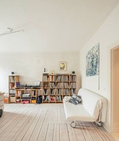 cozy living room with record collection