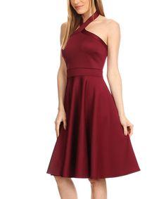 Love this Burgundy Pleated Halter Dress on #zulily! #zulilyfinds