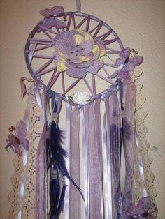 Lavender Butterfly Crochet Dream Catcher17.78 by DreamCatcherMan