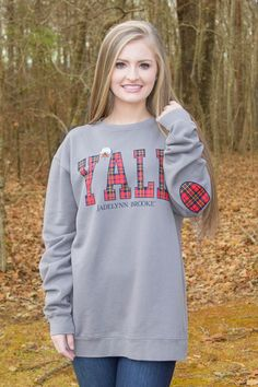 JadeLynn Brooke. Preppy t-shirts! Y'all sweatshirt with plaid elbow patches