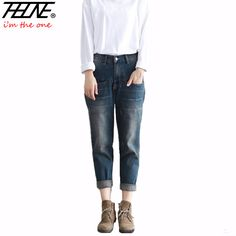 bbd752dfa 2017 New Jeans Women Denim Pants Vintage Retro Casual Trousers Fashion  Harem Pants Long Boyfriend Jeans Ripped-in Jeans from Women's Clothing &  Accessories ...