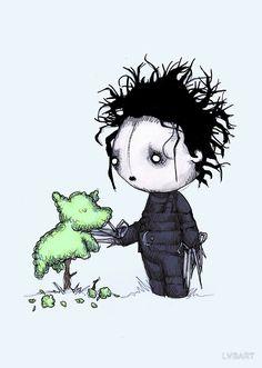 So cute Edward Scissorhands Creepy Drawings, Dark Art Drawings, Halloween Drawings, Halloween Illustration, Arte Horror, Horror Art, Horror Cartoon, Chibi, Tim Burton Art