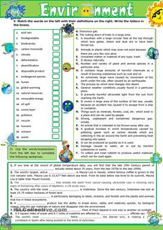 The environment - vocabulary practice: ESL worksheet of the day on July 2, 2015  by Mirita1959