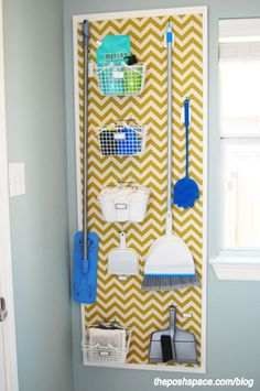 "Organize brooms and mops in the laundry room with a peg board. Love the painted chevron painted over the pegboard along with the ""frame"". Way to class up boring pegboard! Laundry Room Organization, Organization Hacks, Organizing Tips, Laundry Rooms, Laundry Decor, Laundry Hacks, Organising, Laundry Closet, Small Laundry"