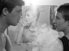 """Jean-Paul Belmonto and Jean Seberg in """"Breathless"""" (1960, Jean-Luc Godard) / Director of Photography: Raoul Coutard"""